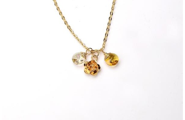 Yellow Gemstone Pendant Necklace. Tiny Gold Flower Pendant Necklace. Double Crystal Necklace. Devotion Necklace 2