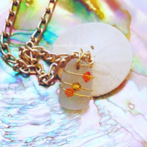 By the Sea Sea Glass and Crystal Pendant, Orange