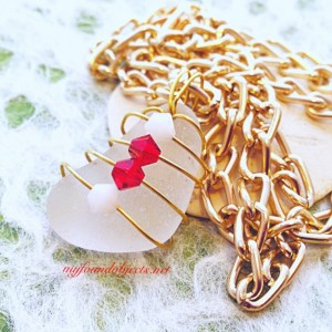 By the Sea, Sea Glass and Crystal Pendant,  Red/White