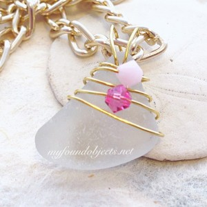 By the Sea, Sea Glass and Crystal Pendant, Pink