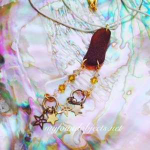 By the Sea, Sea Glass, Found Object and Crystal Pendant, Brown, Yellow and Clear