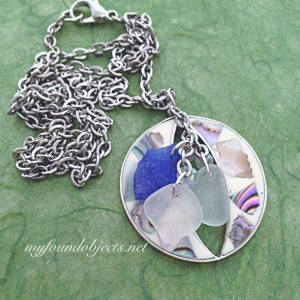 By the Sea, Sea Glass and Found Object Pendant, Blue/White