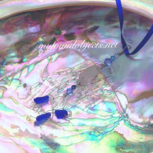 By the Sea, Statement Sea Glass and Crystal Pendant, White/Blue