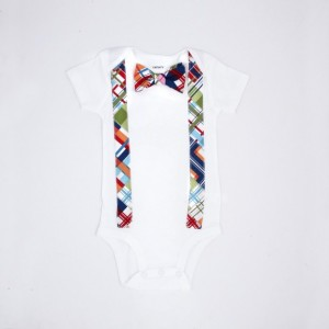Bow tie Onesie with Suspenders