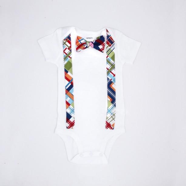 Bow tie Onesie with Suspenders