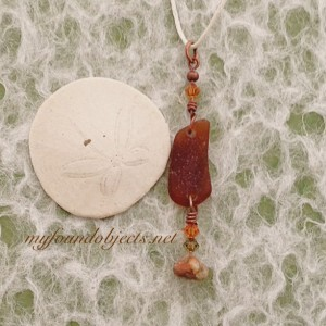 By the Sea, Sea Glass, Crystal and Jasper Pendant, Brown/Copper