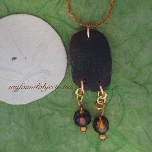 By the Sea, Sea Glass and Found Object Pendant, Brown Crystals.