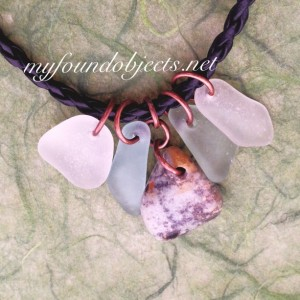 By the Sea, Sea Glass and Jasper Copper Charm Necklace, Unisex