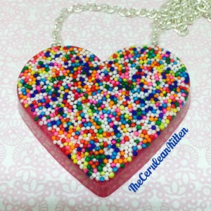 Cake Spinkles Heart Necklace