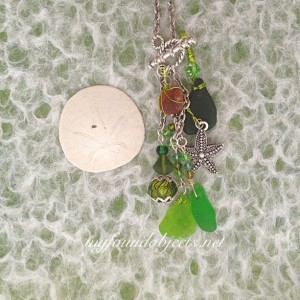 By the Sea, Mermaid Sea Glass Chain Dangle Necklace