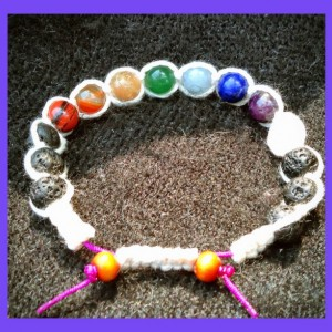Chakra Balancing Gemstone Bracelets with Organic Cotton Square Knots, Lava Rocks