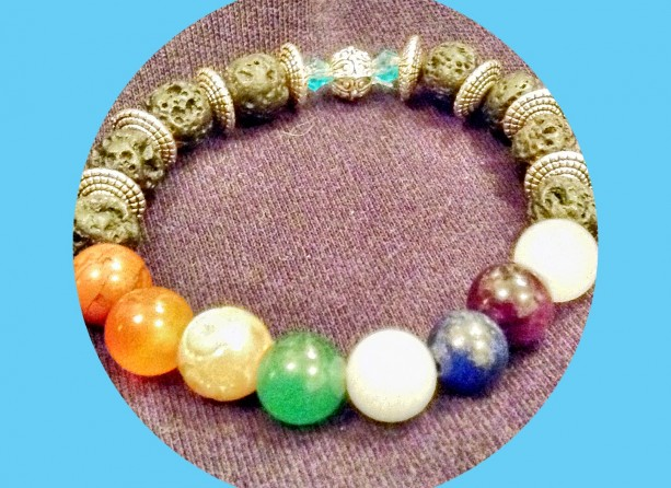 Chakra Gemstone Bracelets with Semi-Precious Stones, Lava Rocks on Stretch Cord
