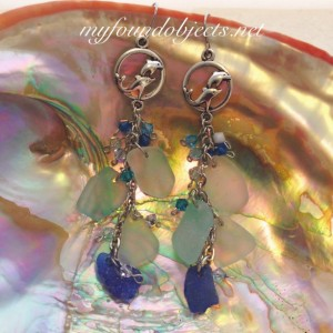 By the Sea, Dolphins Statement Sea Glass and Crystal Chain Dangle Earrings