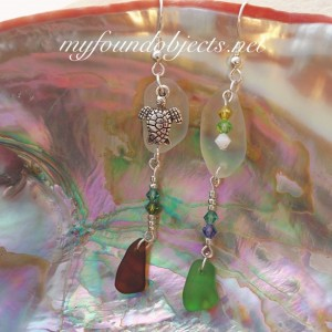 By the Sea, Sea Glass Sea Turtle and Crystal Dangle Earrings