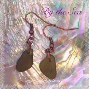 By the Sea, Sea Glass and Copper Petite Dangle Earrings, Forest Green