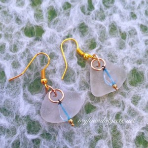 By the Sea, Sea glass and Found Object Sky Blue Charms Dangle Earrings