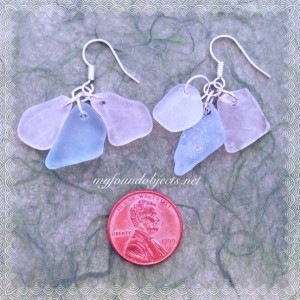 By the Sea, Sea Glass White and Soft Blue Dangle Earrings