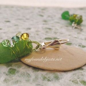 By the Sea, Wire Wrapped Statement Sea Glass and Crystal Dangle Earrings