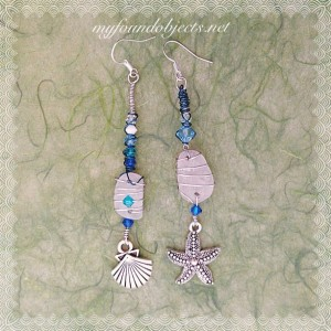 By the Sea, Statement Seaglass and Crystal Wire Wrapped Earrings Silver/Blue
