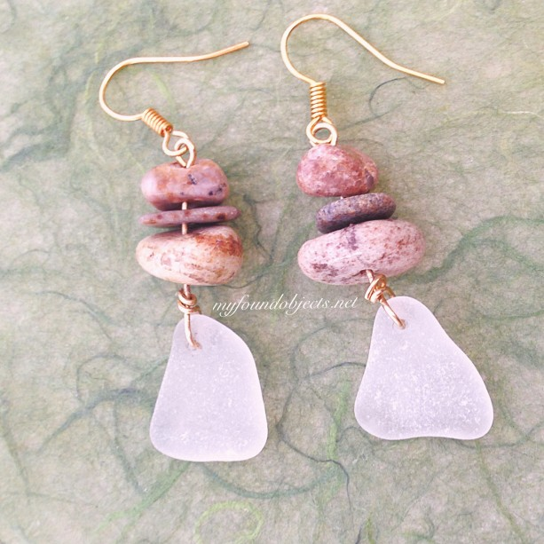 By the Sea, Sea Glass and River Rock Dangle Earrings