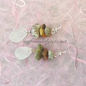 By the Sea, Seaglass and River Rock Dangle Earrings, Silver