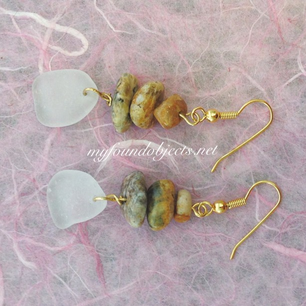 Sea Glass Earrings with polished river rock, gold tone