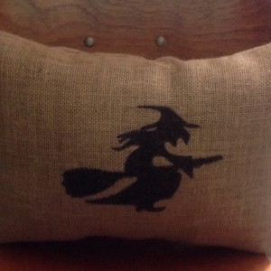 Burlap Witch Decorative Halloween Pillow
