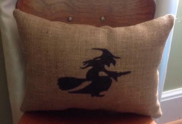 Burlap Witch Decorative Halloween Pillow