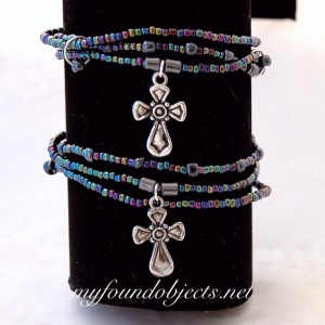Beaded Stacking Bracelets, Silver Cross