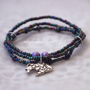 Beaded Stacking Bracelets, Spotted Cat