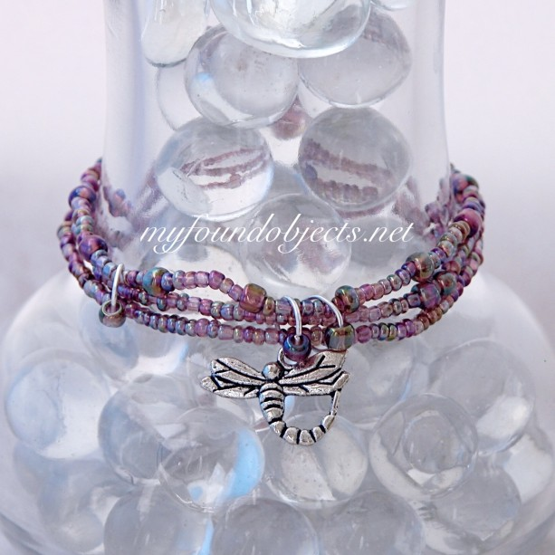 Beaded Stack Bracelets, Pink Dragonfly