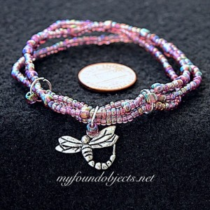 Beaded Stacking Bracelets, Pink Dragonfly