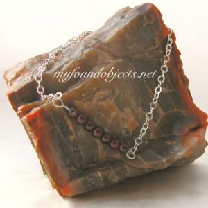 Gemstone Bar Stacking Bracelet, Garnet
