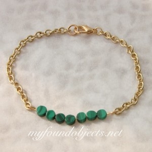 Gemstone Bar Stacking Bracelet, Malachite