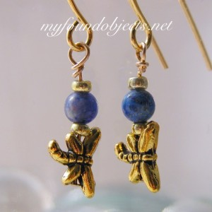 Simply Elegant Lapis Lazuli Dragonfly Earrings