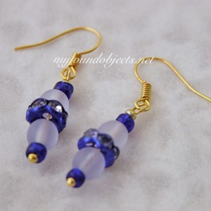 Simply Elegant Beaded Dangle Earrings, Blue/Frost