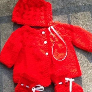 Three Piece sweater set for 0-6months old baby. Ready to ship. Baby shower gift