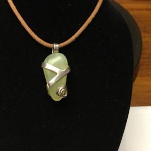 Silver wrapped prehnite pendant