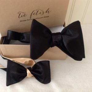 Oversized black satin freestyle or pre tied bow tie