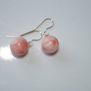 GORGEOUS 14K GOLD 11 MM ANGEL SKIN CORAL ROUND DROP DANGLE EARRINGS