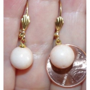 GORGEOUS 14K GF LIGHT ANGEL SKIN SEA 10MM BALL CORAL LEVER BACK EARRINGS