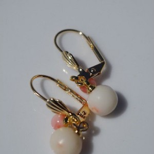 GEM QUALITY ANTIQUE 14K GOLD FILLED DOUBLE 8 MM ANGEL SKIN CORAL EARRINGS