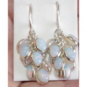 VINTAGE GORGEOUS STERLING 47MM OPALITE CLUSTER DROP EARRINGS