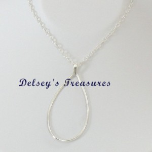 Trendy Stylish Hammered Sterling Silver Tear Drop Pendant Chain