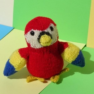 Hand Knit Parrot, Knitted Stuffed Animal, Jungle Plush Parrot, Wool Toy, Stuffed Bird Toy, Soft Toy, Parrot, All Handmade, Ready to Ship