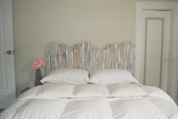 Staggered Reclaimed Wood Shabby Chic Headboard Wall Art - Gray / Blue /  White - Gender