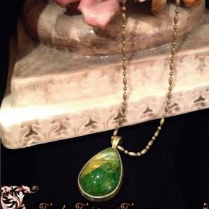 "SOLD - ""Petals"" Real Hand-Dyed Rose Petal Teardrop Pendant with Swarovski Crystal Option"