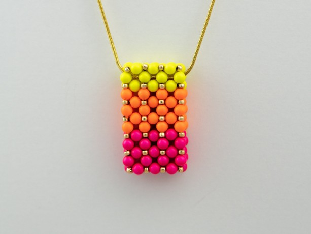 Gradient Neon Swarovski Pearl Vertical Slide Bar Pendant necklace