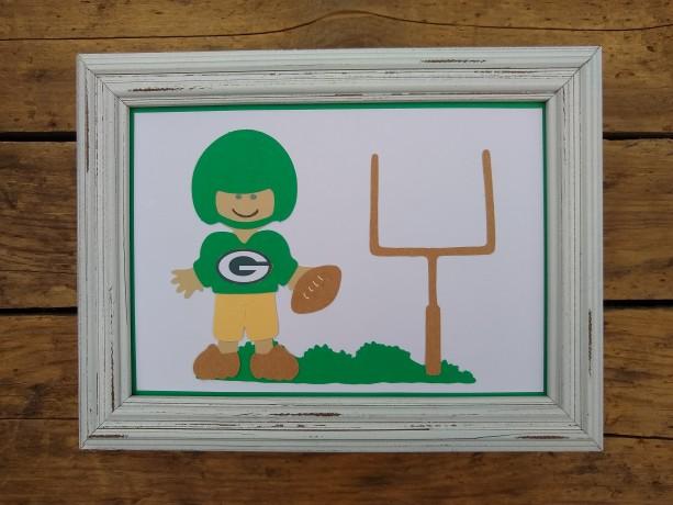 "5"" x 7"" framed Green Bay Packer football player paper doll"