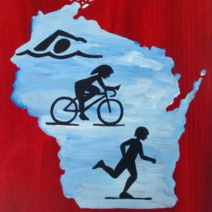 """Wisconsin Triathlon 4"" original painting"